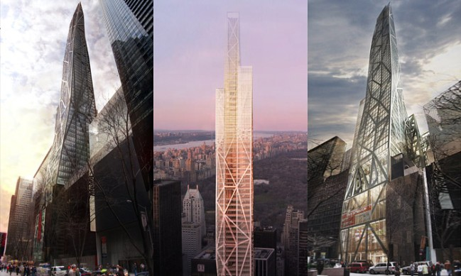 jean nouvel la propuso como una torre de cristal de la misma altura que el empire state pero la ciudad de nueva york ha obligado a recortar
