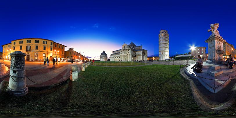 Campo dei Miracoli en Pisa. Pinche sobre la imagen para acceder a esta y otras nueve panorámicas en 360 grados.