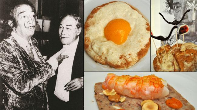Salvador Dalí con Josep Pla. A la derecha, algunos platos del menú degustación <em>Recordando a Dalí</em>.