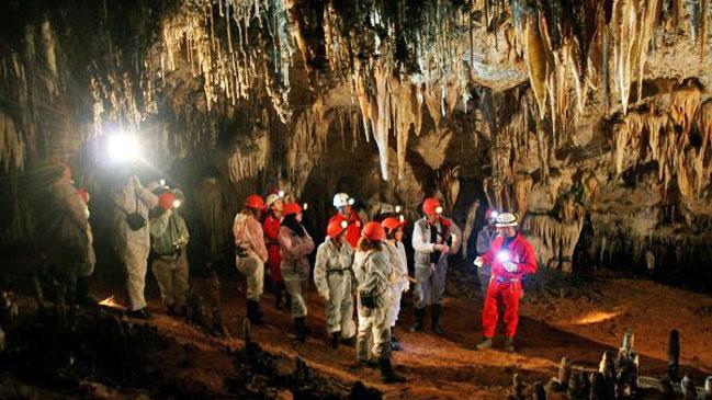 Interior de las minas de El Soplao, en Cantabria.