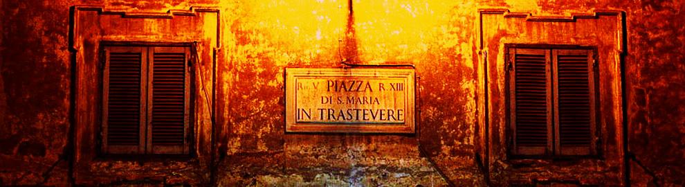 Una placa recuerda uno de los lugares más emblemáticos del bario, la plaza de Santa María in Trastevere.