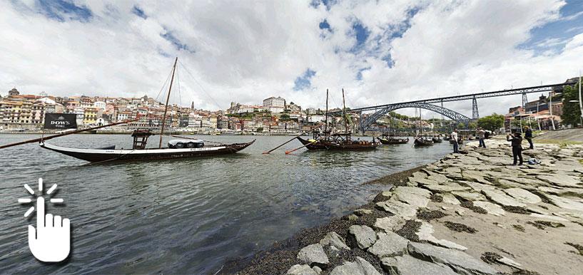 Pinche sobre la imagen para desplegar la panorámica completa y acceder a otras imágenes en 360 grados de Oporto.