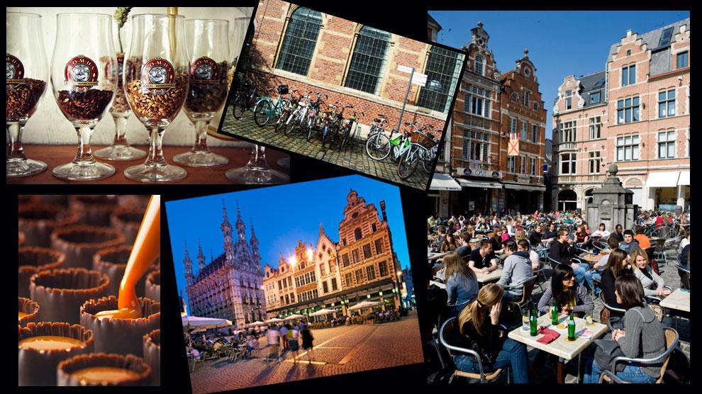 Collage de algunos de los rincones más emblemáticos de Lovaina, la capital de la provincia belga de Brabante.