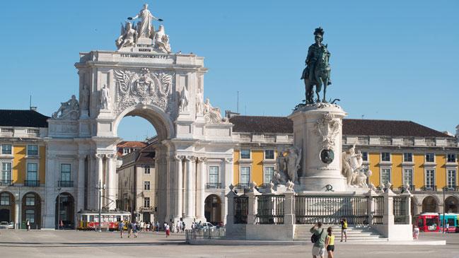 La Praça do Comercio, zona icónica lisboeta.
