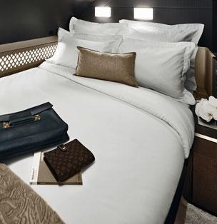 La cama doble de The Residence, solo disponible en los A380.