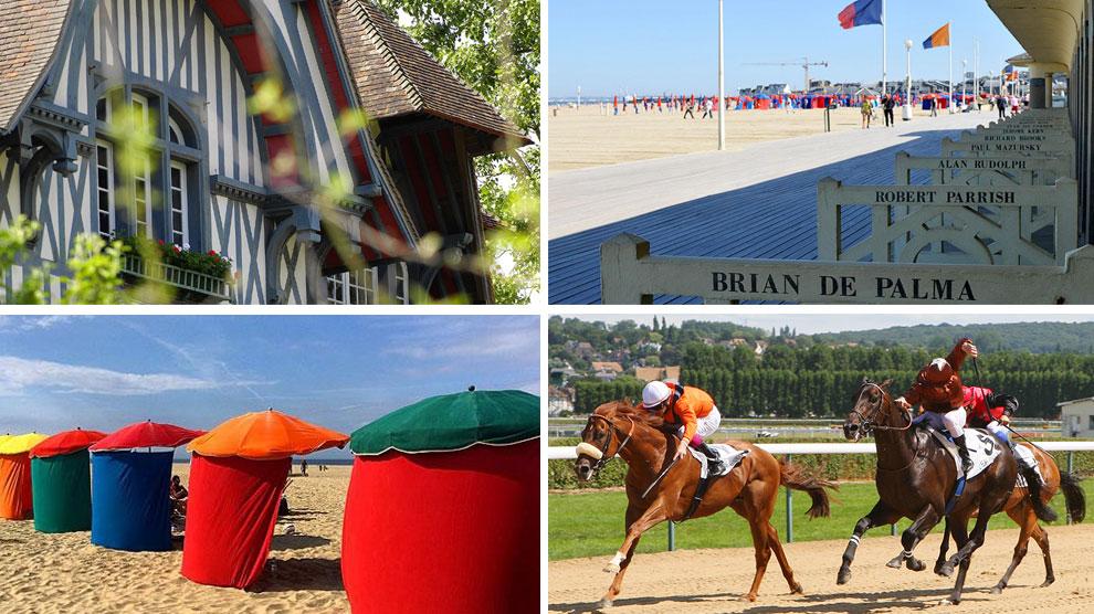 De izq, a dcha. y de arriba abajo: la villa Strassburger, el paseo marítimo, las famosas sombrillas y las carreras.