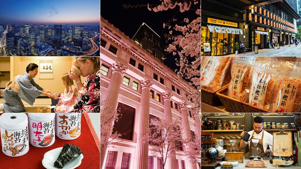 Diferentes instantáneas de restaurantes, vistas, bares, hoteles, tiendas y calles del del barrio de Nihonbashi.