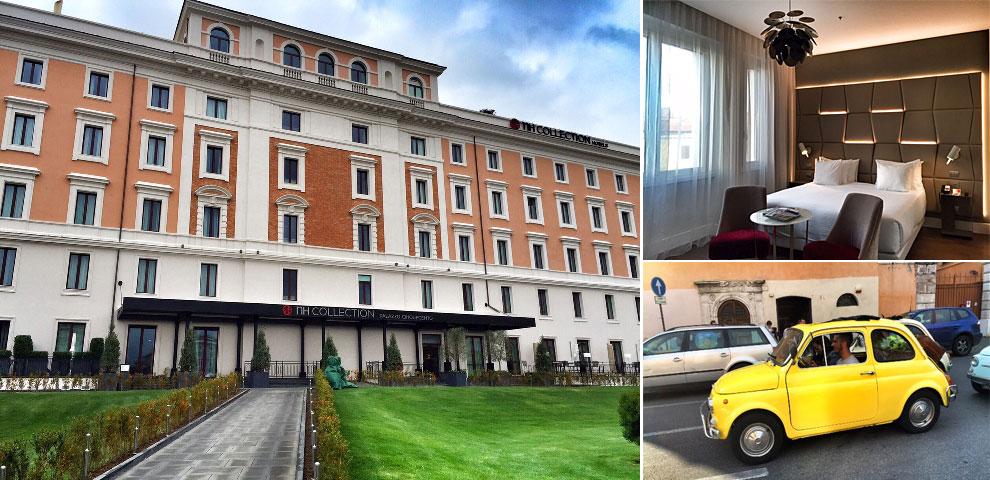 De izquierda a derecha: fachada del hotel, una de las habitaciones y el Fiat Cinquecento, símbolo de este nuevo cinco estrellas.
